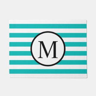Einfaches Monogramm mit Aqua-horizontalen Streifen Türmatte