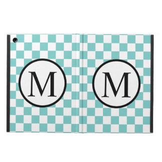 Einfaches Monogramm mit Aqua-Schachbrett