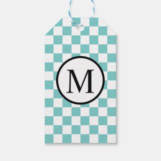 Einfaches Monogramm mit Aqua-Schachbrett Geschenkanhänger