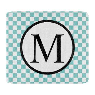 Einfaches Monogramm mit Aqua-Schachbrett Schneidebrett