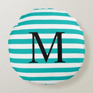 Einfaches Monogramm mit Aqua-Streifen Rundes Kissen