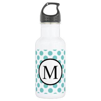Einfaches Monogramm mit Aqua-Tupfen Trinkflasche