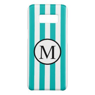 Einfaches Monogramm mit Aqua-vertikalen Streifen Case-Mate Samsung Galaxy S8 Hülle