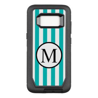 Einfaches Monogramm mit Aqua-vertikalen Streifen OtterBox Defender Samsung Galaxy S8 Hülle