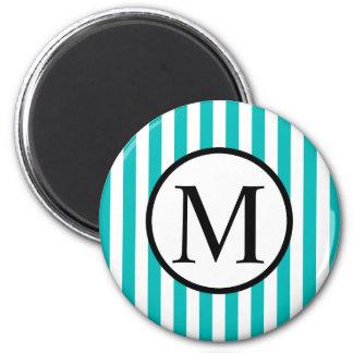 Einfaches Monogramm mit Aqua-vertikalen Streifen Runder Magnet 5,1 Cm