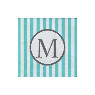 Einfaches Monogramm mit Aqua-vertikalen Streifen Stein-Magnet