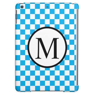 Einfaches Monogramm mit blauem Schachbrett