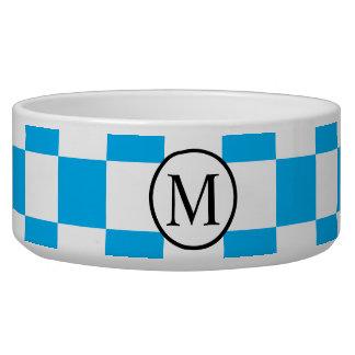 Einfaches Monogramm mit blauem Schachbrett Napf