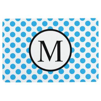 Einfaches Monogramm mit blauen Tupfen Bodenmatte