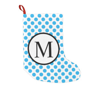 Einfaches Monogramm mit blauen Tupfen Kleiner Weihnachtsstrumpf