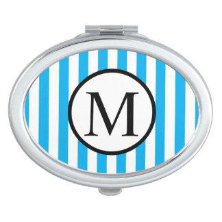Einfaches Monogramm mit blauen vertikalen Streifen Schminkspiegel