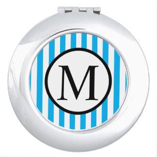 Einfaches Monogramm mit blauen vertikalen Streifen Taschenspiegel