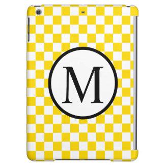 Einfaches Monogramm mit gelbem Schachbrett