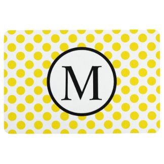 Einfaches Monogramm mit gelben Tupfen Bodenmatte