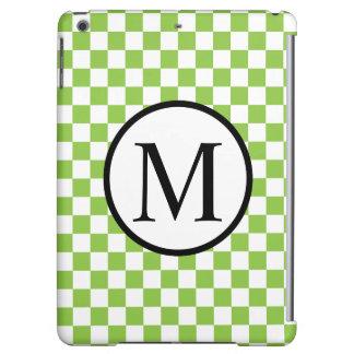 Einfaches Monogramm mit Gelbgrün-Schachbrett