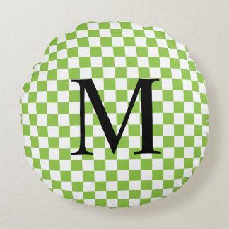 Einfaches Monogramm mit Gelbgrün-Schachbrett Rundes Kissen