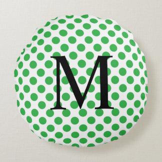 Einfaches Monogramm mit grünen Tupfen Rundes Kissen