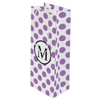Einfaches Monogramm mit Lavendel-Tupfen Geschenktüte Für Weinflaschen