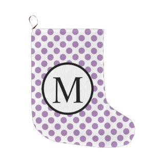 Einfaches Monogramm mit Lavendel-Tupfen Großer Weihnachtsstrumpf