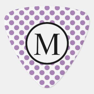 Einfaches Monogramm mit Lavendel-Tupfen Plektron