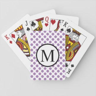 Einfaches Monogramm mit Lavendel-Tupfen Spielkarten