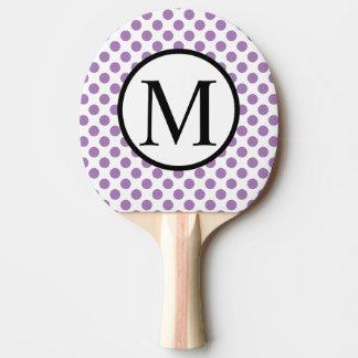 Einfaches Monogramm mit Lavendel-Tupfen Tischtennis Schläger