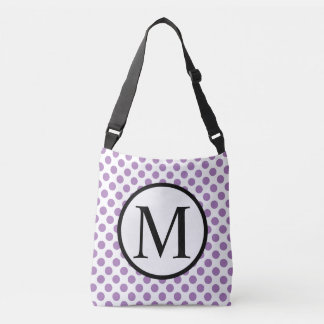 Einfaches Monogramm mit Lavendel-Tupfen Tragetaschen Mit Langen Trägern