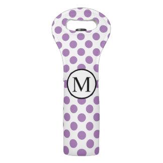 Einfaches Monogramm mit Lavendel-Tupfen Weintasche