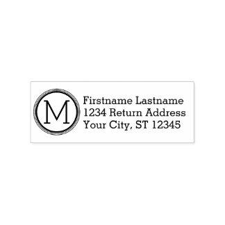 Einfaches Monogramm mit Namen und Rücksendeadresse Gummistempel