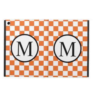 Einfaches Monogramm mit orange Schachbrett