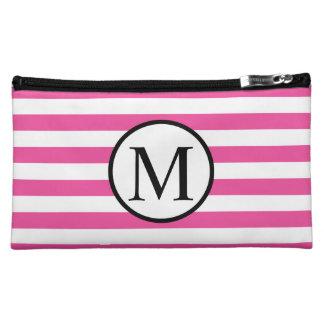 Einfaches Monogramm mit rosa horizontalen Streifen Cosmetic Bag