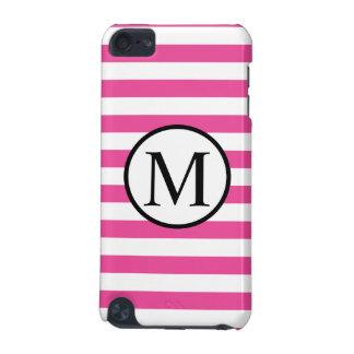 Einfaches Monogramm mit rosa horizontalen Streifen iPod Touch 5G Hülle