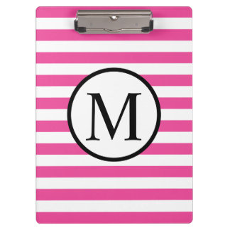 Einfaches Monogramm mit rosa horizontalen Streifen Klemmbrett