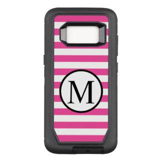 Einfaches Monogramm mit rosa horizontalen Streifen OtterBox Defender Samsung Galaxy S8 Hülle