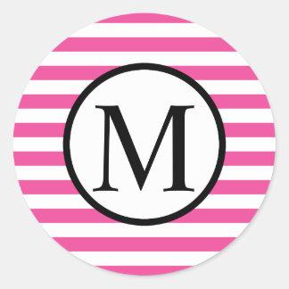 Einfaches Monogramm mit rosa horizontalen Streifen Runder Aufkleber