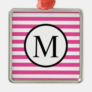 Einfaches Monogramm mit rosa horizontalen Streifen Silbernes Ornament