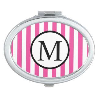 Einfaches Monogramm mit rosa vertikalen Streifen Schminkspiegel