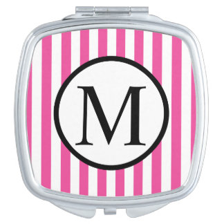 Einfaches Monogramm mit rosa vertikalen Streifen Taschenspiegel