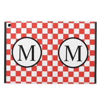 Einfaches Monogramm mit rotem Schachbrett