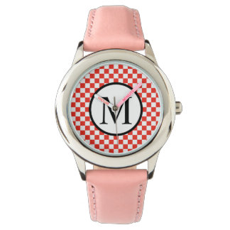 Einfaches Monogramm mit rotem Schachbrett Uhr