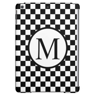 Einfaches Monogramm mit schwarzem Schachbrett
