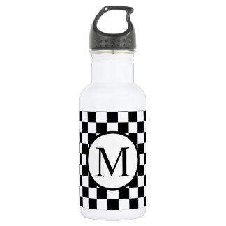 Einfaches Monogramm mit schwarzem Schachbrett Edelstahlflasche