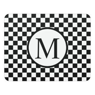 Einfaches Monogramm mit schwarzem Schachbrett Türschild