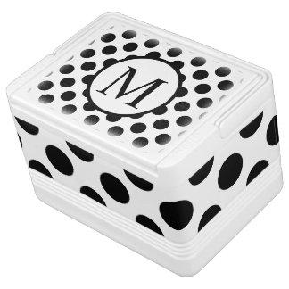 Einfaches Monogramm mit schwarzen Tupfen Igloo Kühlbox