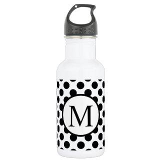 Einfaches Monogramm mit schwarzen Tupfen Trinkflasche