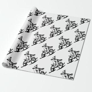 Einfaches Motorcross Fahrrad und Reiter Geschenkpapier