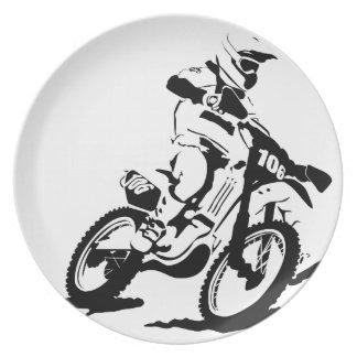 Einfaches Motorcross Fahrrad und Reiter Melaminteller