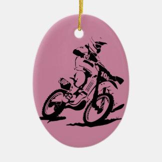 Einfaches Motorcross Fahrrad und Reiter Ovales Keramik Ornament