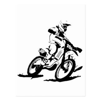 Einfaches Motorcross Fahrrad und Reiter Postkarte