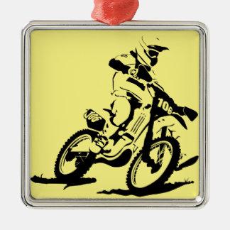 Einfaches Motorcross Fahrrad und Reiter Quadratisches Silberfarbenes Ornament